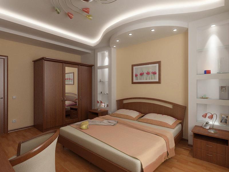 Дизайн спальни потолки из гипсокартона