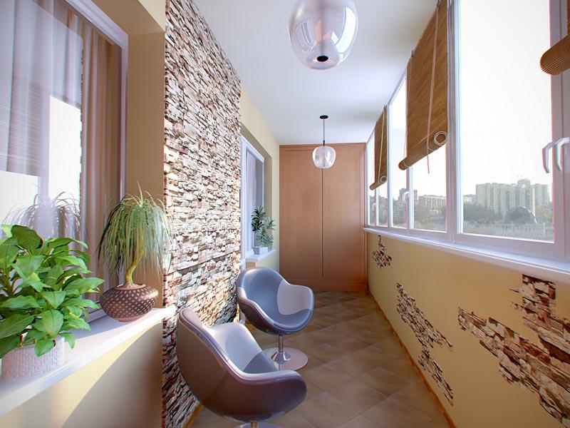 Дизайн лоджии балкона декоративным камнем. - ремонт окон две.