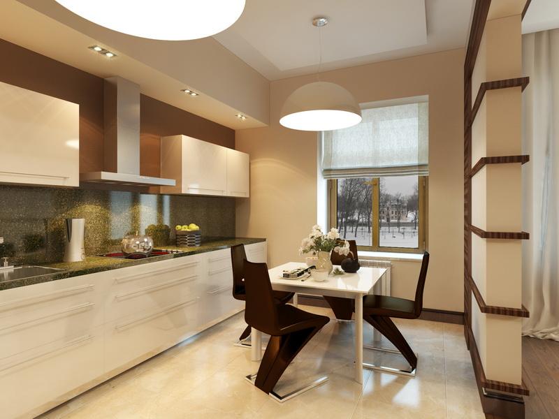 Дизайн бежевых кухонь